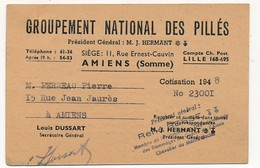 """Petite Carte D'adhésion - """"Groupement National Des Pillés"""" - AMIENS - 1948 - Documents Historiques"""