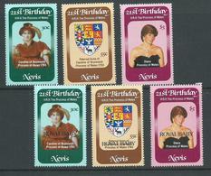 Nevis 1982 Princes Diana Set 3 & Royal Baby Overprint Set 3 MNH - St.Christopher-Nevis-Anguilla (...-1980)