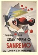 Car Automobile Grand Prix Postcard Sanremo 1948 - Reproduction - Pubblicitari