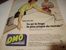 ANCIENNE PUBLICITE LINGRE PROPRE  OMO  1958 - Publicités