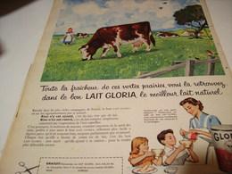 ANCIENNE AFFICHE  PUBLICITE  LAIT CONCENTRE GLORIA 1958 - Publicités