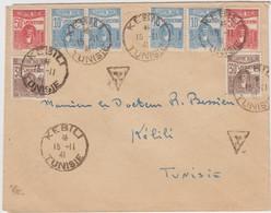 TUNISIE LETTRE LOCALE (PRESENCE FRANCAISE) 1941 KEBILI NON AFFRANCHIE TAXE LOCALE A 2FRANCS (TIMBRE TAXE = 50C X 2 , 30C - Tunisie (1888-1955)