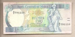 Malta - Banconota Circolata Da 5 Lire P-42 - 1989 - Malta