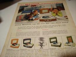ANCIENNE PUBLICITE ELECTROPHONE VALISE DE MELOVOX 1958 - Musique & Instruments