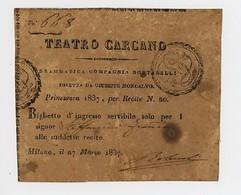 BIGLIETTO INGRESSO TEATRO CARCANO MILANO 1837 (6/46) - Tickets D'entrée