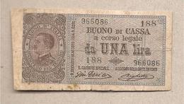 Italia - Banconota Buono Di Cassa Circolata Da 1 Lira P-36b - 1917 - [ 5] Tesoro