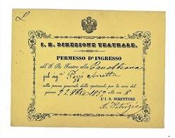 BIGLIETTO PERMESSO INGRESSO PROVE TEATRO CANOBBIANA MILANO 1852 (6/47) - Tickets D'entrée