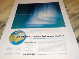 ANCIENNE PUBLICITE VOYAGE AIR FRANCE PARIS-TOKYO 1958 - Publicités