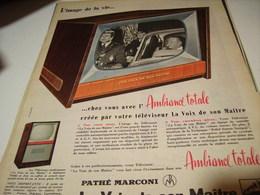 ANCIENNE PUBLICITE TELEVISION AMBIANCE TOTALE LA VOIX DE SON MAITRE 1958 - Affiches