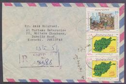 Postal History Cover From IRAN On Afghan Map, Resistance Of The Muslim People Of Afghanistan, Registered Used From GAZVI - Iran
