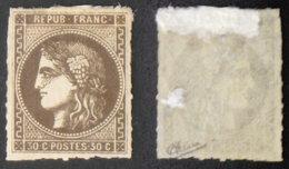 N° 47 30c CERES BORDEAUX Brun TB Neuf NSG Cote 250€ Signé Calves Percé En Ligne - 1870 Bordeaux Printing