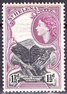 ST HELENA 1953 QEII 1.5d Black & Red-Purple SG155 MH - Saint Helena Island