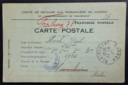 Carte De Franchise Militaire COMITE DE SECOURS PRISONNIER DE GUERRE De REMIREMONT Envoi De COLIS Sept 1917 - Cartes De Franchise Militaire