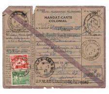 Mandat Carte Colonial De HAIPHONG à PONDICHERY  5 Mars 1947, Affranchissement GANDON  Coupon Quasi Desolidaridé - Indochine (1889-1945)