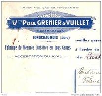 PAUL GRENIER  & VUILLET    Fabriques De Mesures Linéaires  LONGCHAUMOIS  (Jura)   Fiscal - Cambiali