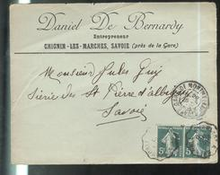 Marcophilie - Enveloppe Daniel De Bernardy Entrepreneur Chignin Les Marches - 1910 - Postmark Collection (Covers)