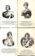 Famille - Roi & Reine Lot 4 Cartes Philippe VI Hortense Joséphine Napoléon 1er(+annotations) - Familles Royales
