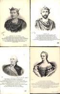 Famille - Roi & Reine Lot 4 Cartes Robert II Henri 1er Orléans Marie-Thérèse D'Autriche(+annotations) - Familles Royales