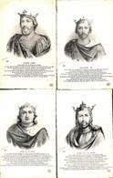 Famille - Roi & Reine Lot 4 Cartes Hugues Capet Philippe 1er Louis VI Le Gros, Louis VII Le Jeune (+annotations) - Familles Royales