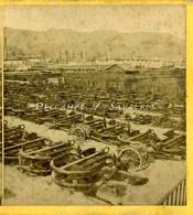 RARE  Var * Arsenal TOULON Parc Aux Ancres * Port Marine - Photo Stéréoscopique Vers 1860/65 - Photos Stéréoscopiques