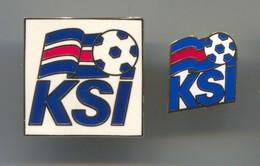 FOOTBALL / SOCCER / FUTBOL / CALCIO - KSI ICELAND FEDERATION ASSOCIATION, Enamel Pin, Badge, Abzeichen, 2 Pcs - Football