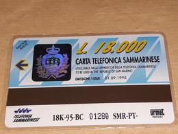 Carta Telefonica S.marino Lire 18.000 Nuova Del 01.09.1995 - San Marino