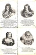 Famille - Roi & Reine Lot 4 Cartes Louis XIV  Louis XIII Anne D'Autriche Gabrielle D'Estrées(+annotations) - Familles Royales