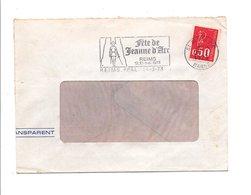 FLAMME FETE DE JEANNE D'ARC à REIMS MARNE 1973 - Postmark Collection (Covers)
