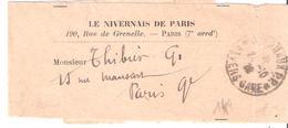 Nièvre :- JOURNAUX P.P. * NEVERS GARE * Dateur A4 Sur Bande Journal LE NIVERNAIS DE PARIS - Marcophilie (Lettres)