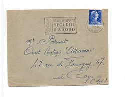 FLAMME SECURITE D'ABORD CAEN 1958 - Postmark Collection (Covers)