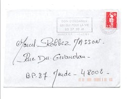FLAMME DON D'ORGANES NANCY 1991 - Postmark Collection (Covers)