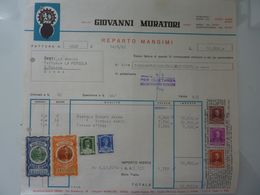 """Fattura """"Molini GIOVANNI MURATORI REPARTO MANGIMI Siena"""" 1963 - Italia"""