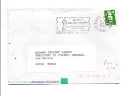 FLAMME GROTTE DES DEMOISELLES MONTPELLIER HERAULT 1992 - Postmark Collection (Covers)