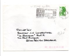 FLAMME CATHEDRALE DE COUTANCES MANCHE 1985 - Postmark Collection (Covers)