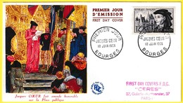 1034 (Yvert) Sur Enveloppe Premier Jour Illustrée (PJ) - Cinquième Centenaire De La Mort De Jacques Coeur - France 1955 - FDC