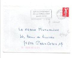 FLAMME 32 EME RECENSEMENT POPULATION PARIS 1990 - Postmark Collection (Covers)