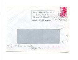 FLAMME 17 ANS RECENSEMENT LEVALLOIS PERRET 1989 - Postmark Collection (Covers)