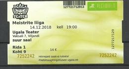 ESTLAND Estonia Theater Ugala Fellin Viljandi Eintrittskarte Ticket 2018 - Tickets D'entrée
