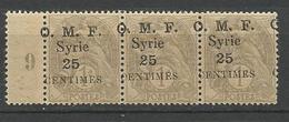 SYRIE  N° 31 Variétée Surcharge Déplacé NEUF** Luxe SANS CHARNIERE / MNH - Syria (1919-1945)