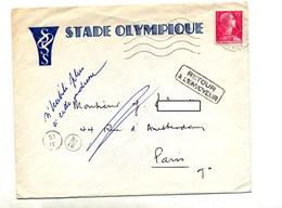 Lettre Flamme Muette Paris + Retour + Parti Entete Stade Olympique - Postmark Collection (Covers)