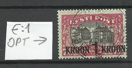 Estland Estonia 1930 Michel 87 E: 1 ERROR Variety Abart O - Estland