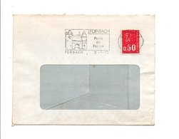 FLAMME PORTE DE FRANCE A FORBACH MOSELLE 1972 - Postmark Collection (Covers)