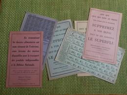 Militaria. Tickets De Rationnement. Ravitaillement. Occupation. 1939 1945.  WW2. 6 Documents.. - Militaria
