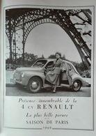 Voiture 4 CV Renault, Tour Eiffel Paris, Publicité 1949- - Publicités