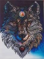Wolf, Hand Made, 30x40 Cm - Cross Stitch