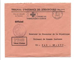 FLAMME TIMBRES A SURTAXE STRASBOURG 1965 - Postmark Collection (Covers)
