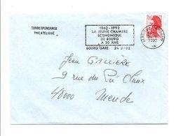 FLAMME 30 ANS CHAMBRE ECONOMIQUE DE BOURG EN BRESSE AIN 1992 - Postmark Collection (Covers)
