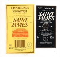 2 Etiquettes  Rhum  Agricole  Vieux  70 Et 100cl  SAINT JAMES  -  Ste Marie -  MARTINIQUE - - Rhum