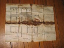 TOP - Plan Sur Tissu Toilé D'un Projet De Veranda à EUPEN , Neustrasse N° 35 En 1888 Pour Mr J. Krantz  (nod1) - Architecture