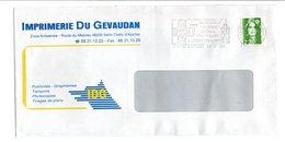 FLAMME DE SAINT CHELY D'APCHER LOZERE 1992 - Postmark Collection (Covers)